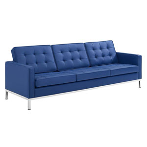 Uptown Silver and Navy Sofa