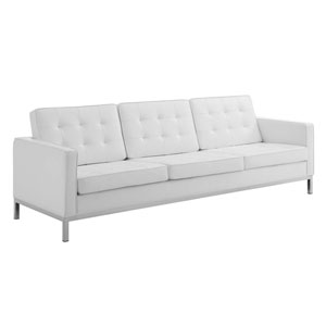 Uptown Silver and White Sofa