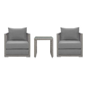 Roat Gray Three Piece Outdoor Patio Furniture Set with Side Table, Two Armchair