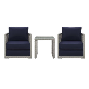 Roat Gray and Navy Three Piece Outdoor Patio Furniture Set with Side Table, Two Armchair