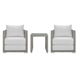 Roat Gray and White Three Piece Outdoor Patio Furniture Set with Side Table, Two Armchair