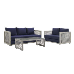 Roat Gray and Navy Three Piece Outdoor Patio Furniture Set with Coffee Table, Loveseat, Sofa
