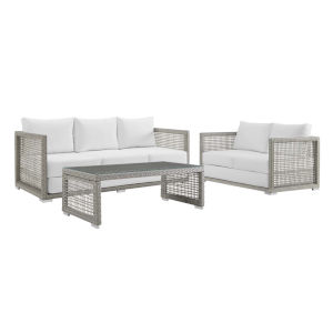 Roat Gray and White Three Piece Outdoor Patio Furniture Set with Coffee Table, Loveseat, Sofa