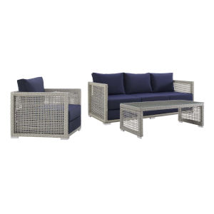 Roat Gray and Navy Three Piece Outdoor Patio Furniture Set with Armchair, Coffee Table, Sofa
