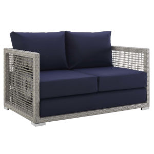 Roat Gray and Navy Outdoor Patio Loveseat