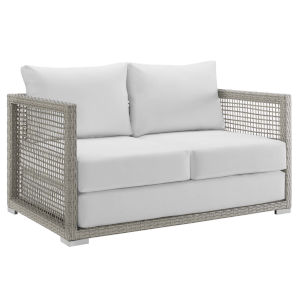 Roat Gray and White Outdoor Patio Loveseat