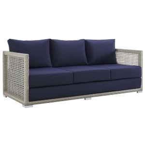 Roat Gray and Navy Outdoor Patio Sofa