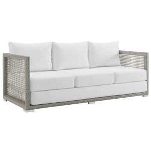 Roat Gray and White Outdoor Patio Sofa