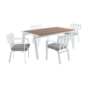 Taryn White and Gray Five Piece Outdoor Patio Dining Set