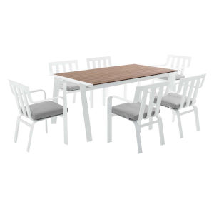 Taryn White and Gray 115-Inch Outdoor Patio Dining Table with Six Dining Armchair