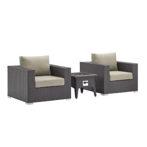 Darren Espresso and Beige Three Piece Outdoor Patio Furniture Set with Fire Pit, Two Armchairs