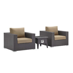 Darren Espresso and Mocha Three Piece Outdoor Patio Furniture Set with Fire Pit, Two Armchairs