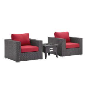 Darren Espresso and Red Three Piece Outdoor Patio Furniture Set with Fire Pit, Two Armchairs