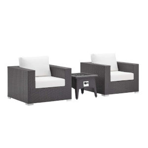 Darren Espresso and White Three Piece Outdoor Patio Furniture Set with Fire Pit, Two Armchairs