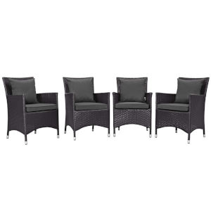 Taryn Espresso and Charcoal Four Piece Outdoor Patio Dining Set
