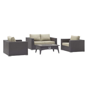 Darren Espresso and Beige Four Piece Outdoor Patio Furniture Set with Loveseat, Fire Pit, Two Arm Chairs
