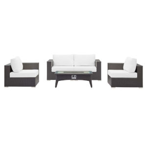 Darren Espresso and White Five Piece Outdoor Patio Furniture Set with Four Corner Chairs, Fire Pit