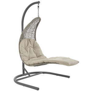 Taryn Light Gray and Beige 51-Inch Outdoor Patio Lounge Swing Chair