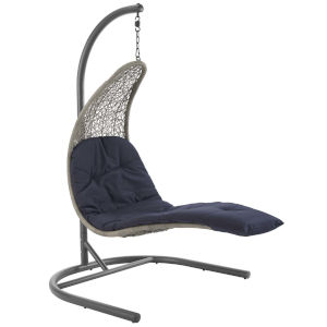 Taryn Light Gray and Navy 51-Inch Outdoor Patio Lounge Swing Chair