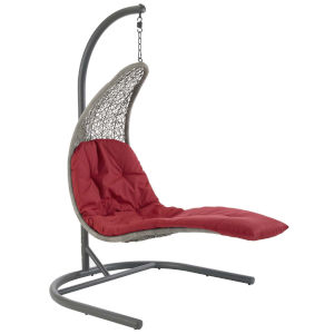 Taryn Light Gray and Red 51-Inch Outdoor Patio Lounge Swing Chair