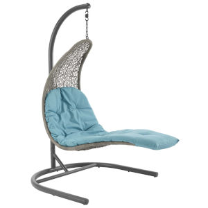 Taryn Light Gray and Turquoise 51-Inch Outdoor Patio Lounge Swing Chair