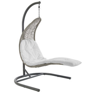 Taryn Light Gray and White 51-Inch Outdoor Patio Lounge Swing Chair