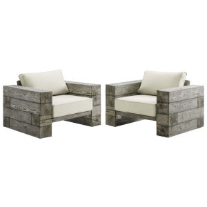 Roat Light Gray and Beige Outdoor Patio Lounge Arm Chair, Set of 2