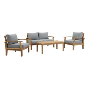 Roat Natural and Gray Four Piece Outdoor Patio Furniture Set with Coffee Table, Sofa, Two Armchair