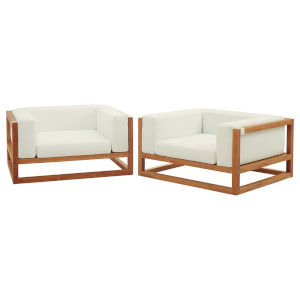 Taryn Natural and White Two Piece Outdoor Patio Two Piece Furniture Set