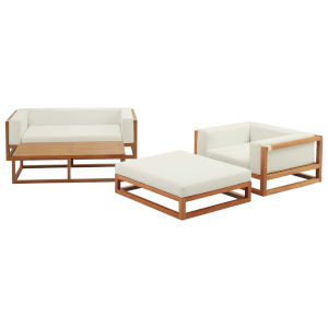 Taryn Natural and White Four Piece Outdoor Patio Furniture Set with Armchair, Coffee Table, Ottoman, Sofa