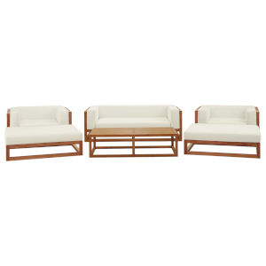 Taryn Natural and White Six Piece Outdoor Patio Furniture Set with Coffee Table, Sofa, Two Armchair, Two Ottoman