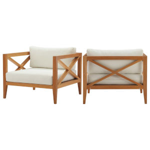 Darren Natural and White Outdoor Patio Armchair, Set of 2