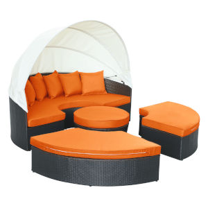 Darren Espresso and Orange Outdoor Patio Daybed