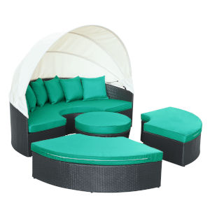 Darren Espresso and Turquoise Outdoor Patio Daybed