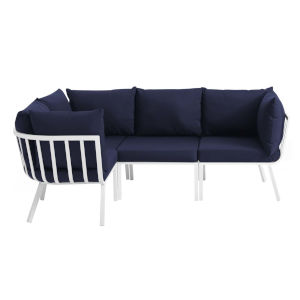 Taryn White and Navy Four Piece Outdoor Patio Furniture Set with Armless Chair, Three Corner Chair