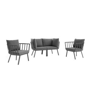 Taryn Gray and Charcoal Four Piece Outdoor Patio Furniture Set with Two Armchair, Two Corner Chair