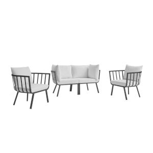 Taryn Gray and White Four Piece Outdoor Patio Furniture Set with Two Armchair, Two Corner Chair