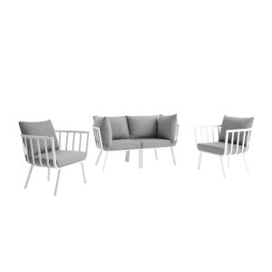 Taryn White and Gray Four Piece Outdoor Patio Furniture Set with Two Armchair, Two Corner Chair