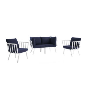 Taryn White and Navy Four Piece Outdoor Patio Furniture Set with Two Armchair, Two Corner Chair