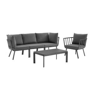 Taryn Gray and Charcoal Five Piece Outdoor Patio Furniture Set with Coffee Table, Armchair, Armless Chair, Two Corner Chair