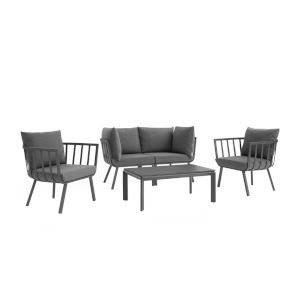 Taryn Gray and Charcoal Five Piece Outdoor Patio Furniture Set with Coffee Table, Two Armchair, Two Corner Chair