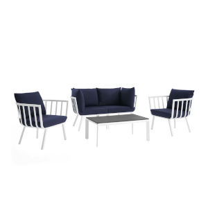 Taryn White and Navy Five Piece Outdoor Patio Furniture Set with Coffee Table, Two Armchair, Two Corner Chair