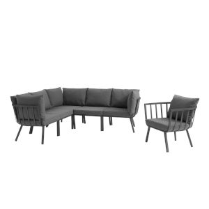 Taryn Gray and Charcoal Six Piece Outdoor Patio Furniture Set with Armchair, Three Corner Chair, Two Armless Chair