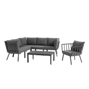 Taryn Gray and Charcoal Seven Piece Outdoor Patio Furniture Set with Coffee Table, Armchair, Three Corner Chhair, Two Armless
