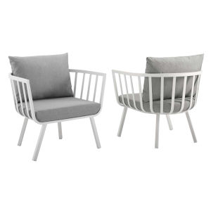 Taryn White and Gray Outdoor Patio Armchair