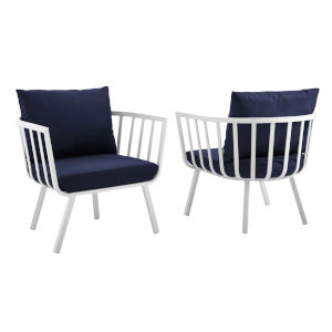 Taryn White and Navy Outdoor Patio Armchair