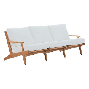Roat Natural and White Outdoor Patio Sofa