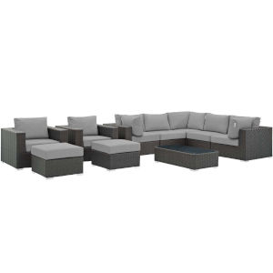 Darren Canvas Gray 10 Piece Outdoor Patio Furniture Set with Coffee Table, Three Armless Chair, Two Armchair, Two Corner