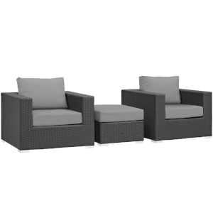 Darren Canvas Gray Three Piece Outdoor Patio Furniture Set with Ottoman, Two Armchairs