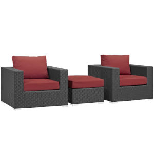 Darren Canvas Red Three Piece Outdoor Patio Furniture Set with Ottoman, Two Armchairs